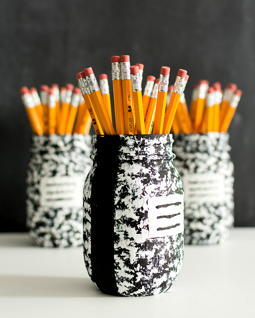 Mason Jar Craft Ideas - Composition Bookk Mason Jar Desk Accessory