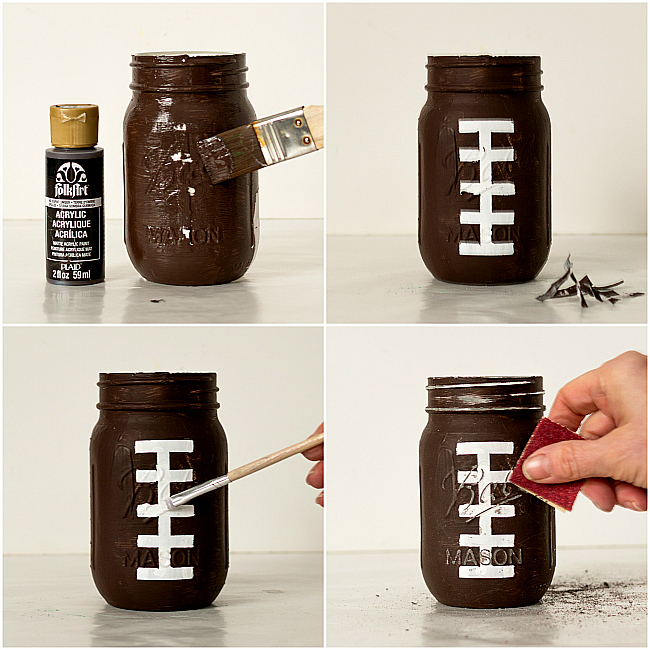 Mason Jar Craft Ideas - Football Mason Jars