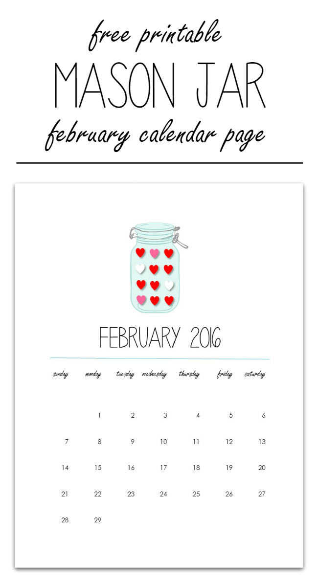 Mason Jar Craft Ideas - Free Printable Calendar Pages