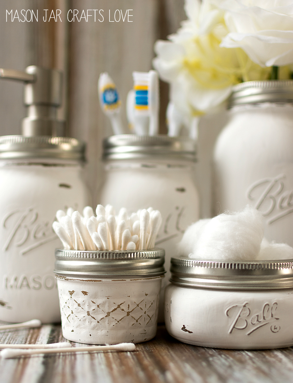 Mason jar bathroom storage accessories mason jar for Bathroom canisters ideas