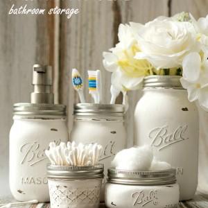 Mason Jar Craft Ideas: Bathroom Accessories and Storage