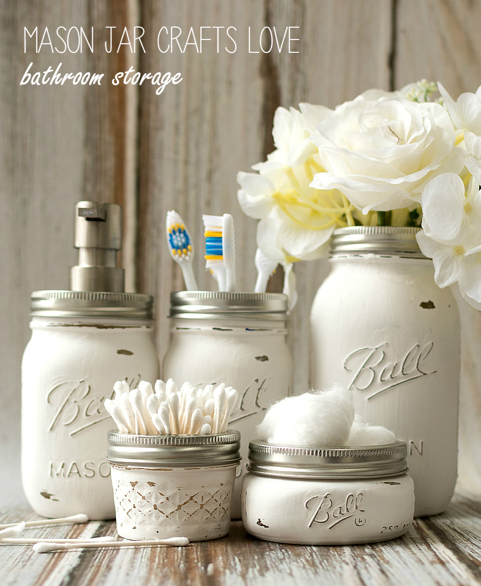 Amazing Mason Jar Decor Part - 8: Mason Jar Bathroom Storage