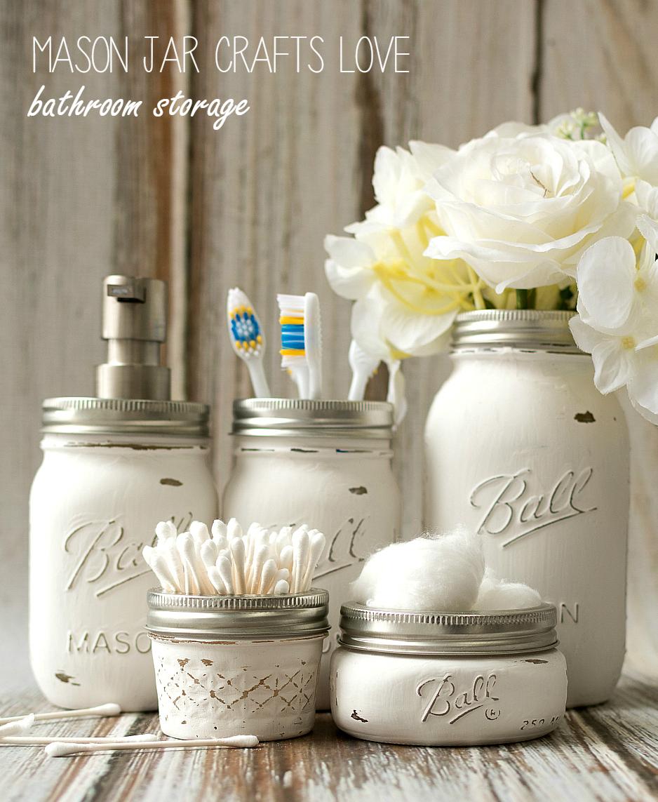 Mason Jar Bathroom Storage Accessories Crafts Love