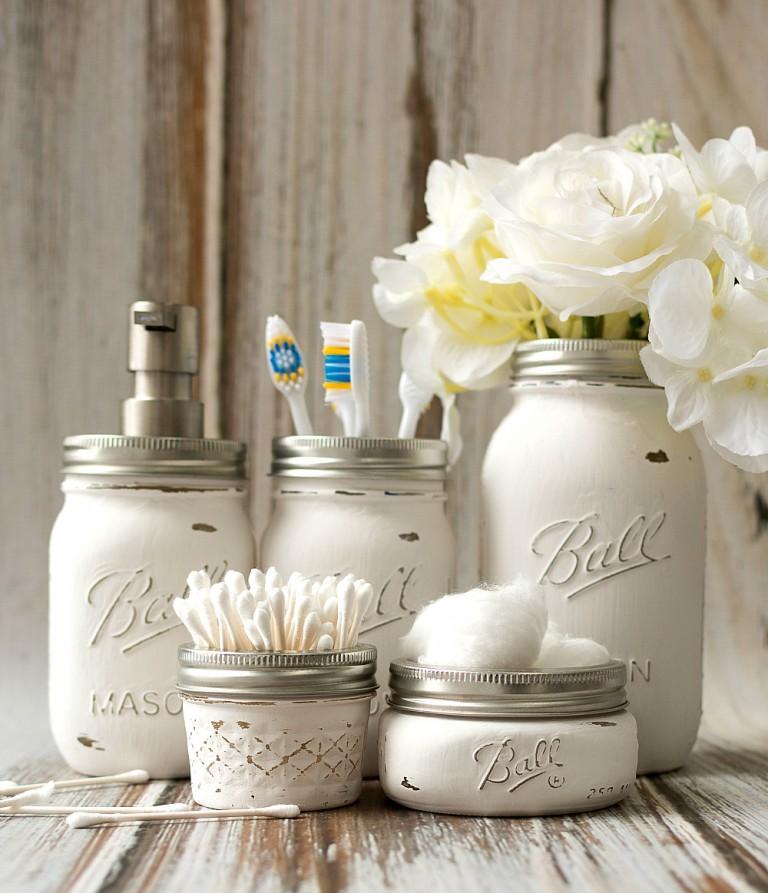 Mason jar crafts painted distressed bathroom organizer soap dispenser toothbrush holder 2 3 of 3 768x893