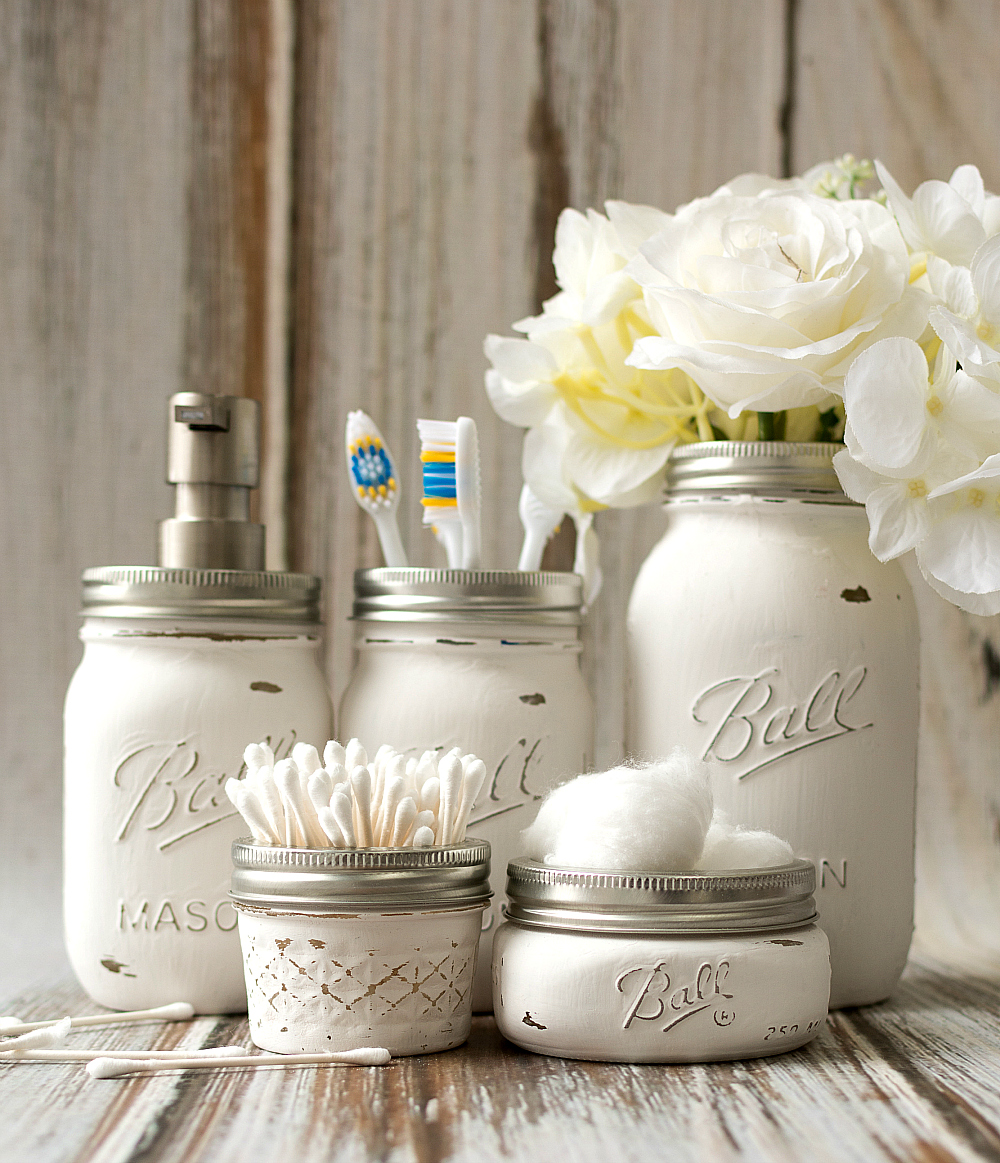 Mason Jar Home Decor Ideas Part - 46: Mason-jar-crafts-painted-distressed-bathroom-organizer-soap-