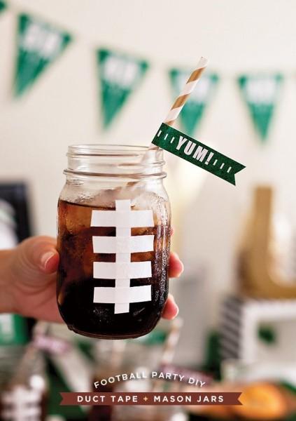 Football Mason Jar Mug - Football Party Ideas with Mason Jars
