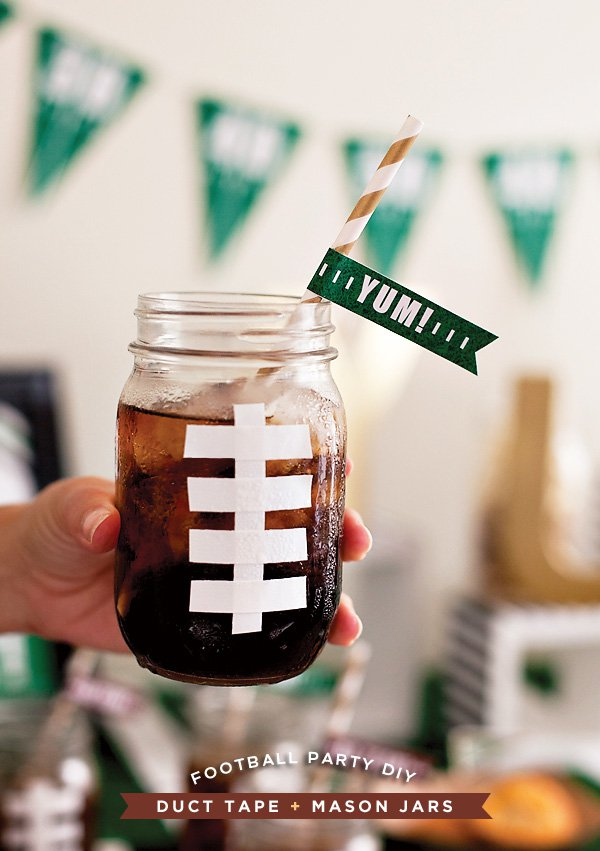 Football Mason Jar Mugs