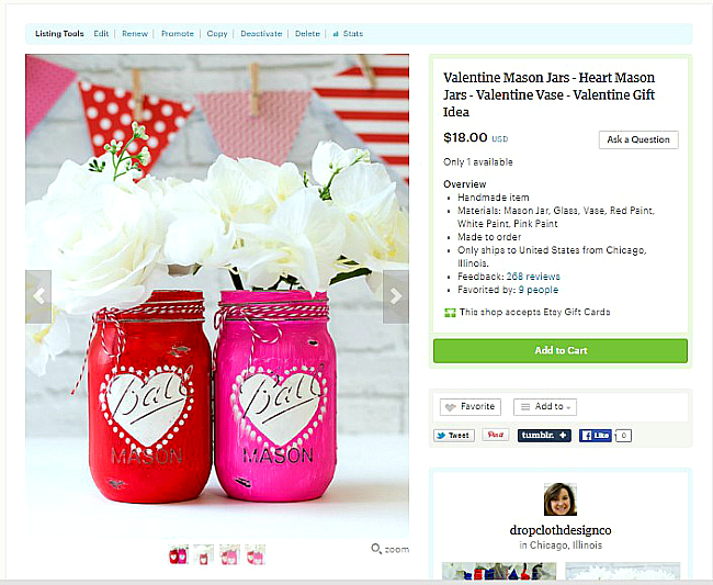 Valentine Day Gift Ideas on Etsy - Heart Jars Painted Mason Jars