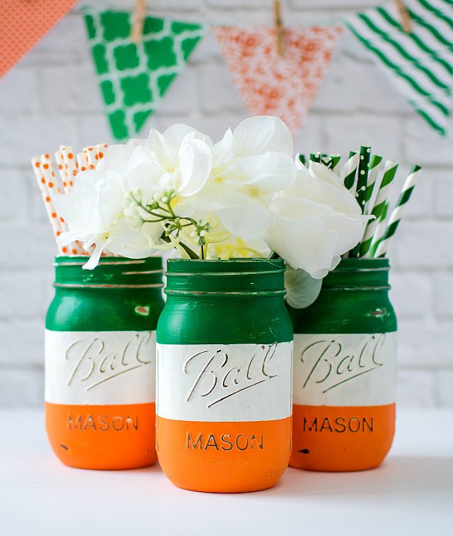 Jar Craft Ideas for St Patrick's Day - Irish Flag Mason Jar