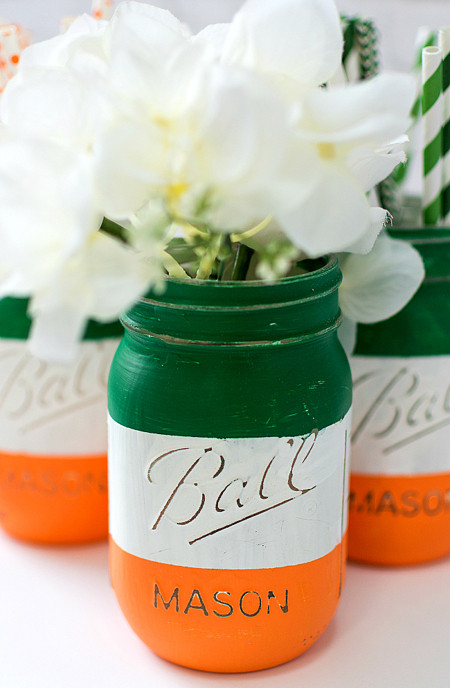 St Patrick's Day Activities For Kids - Irish Tricolour Mason Jar Craft