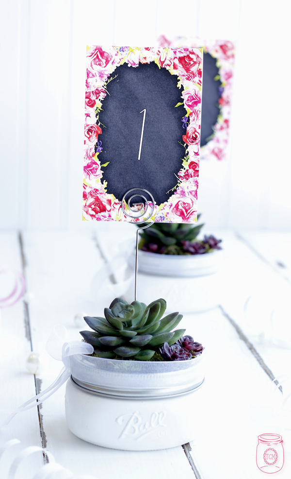 Wedding Table number ideas with Mason Jars