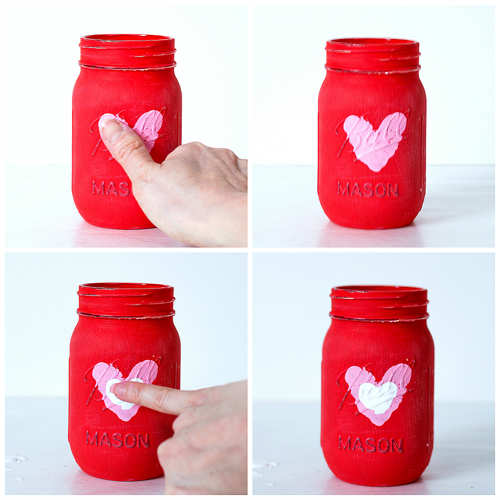 Thumbprint Heart Craft Ideas - Mason Jar Valentine's Day Vase Craft