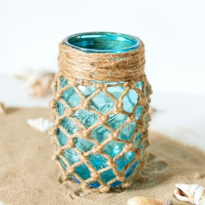 Mason Jar Crafts - Summer Decor with Mason Jars - Fishnet Mason Jar