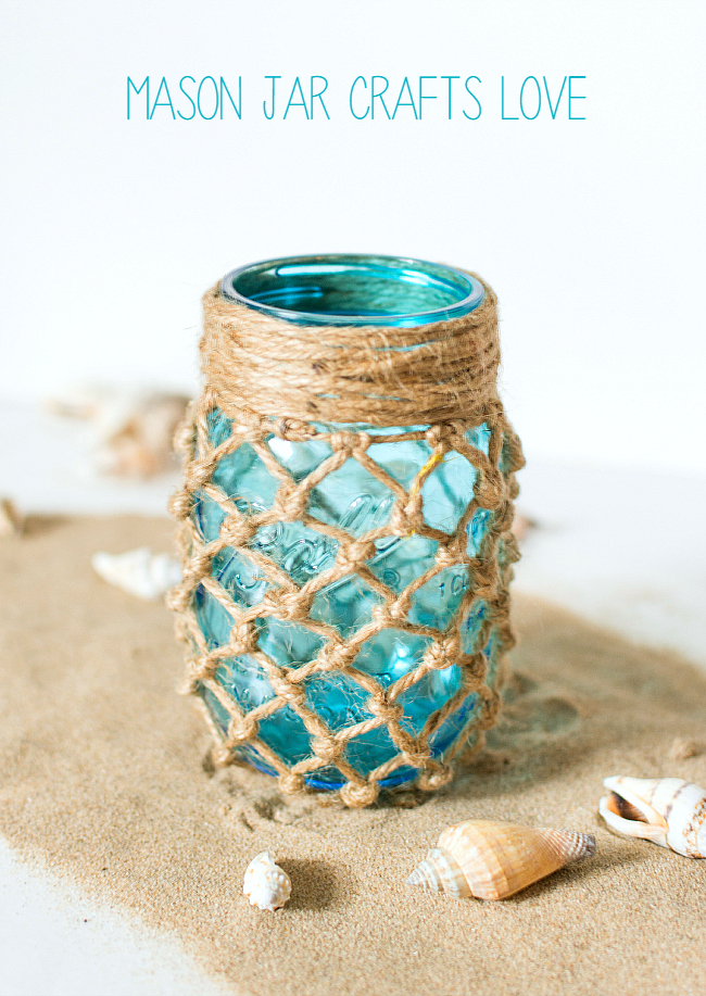 Mason Jar Crafts - Summer Decor with Mason Jars - Fishnet Mason Jar