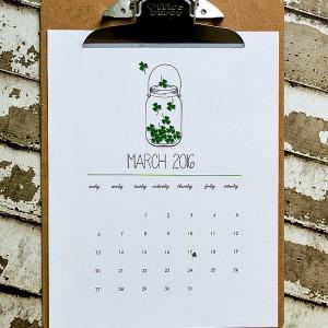 Free Calendar - Mason Jar Calendar Page Printable