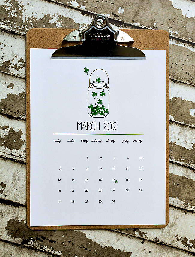 March 2016 Free Calendar Page Printable