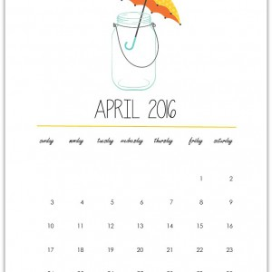 April Calendar Page Printable - free calendar printable