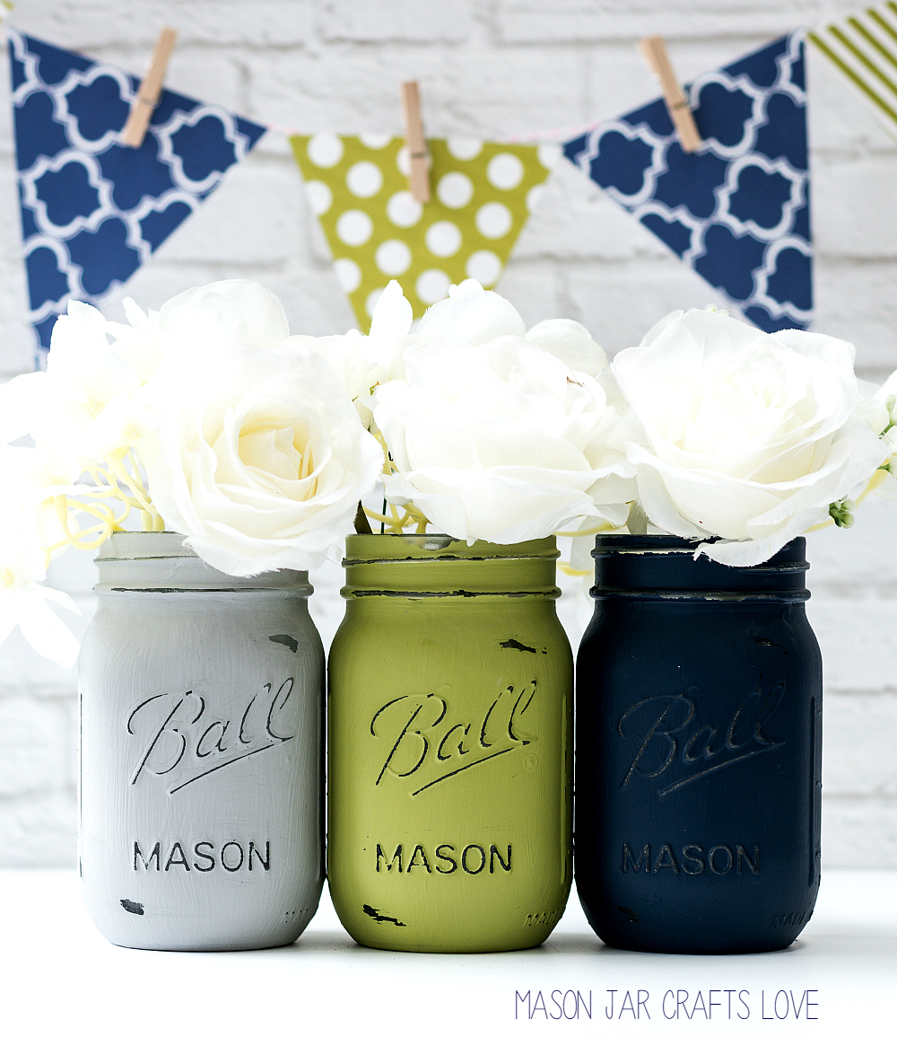 Blue, Green, Gray Mason Jar Wedding Vases - Mason Jar Crafts Love