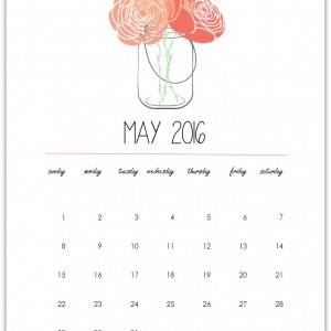 Mason Jar Printable - Calendar Page Printable - Mason Jar with Flowers Clip Art