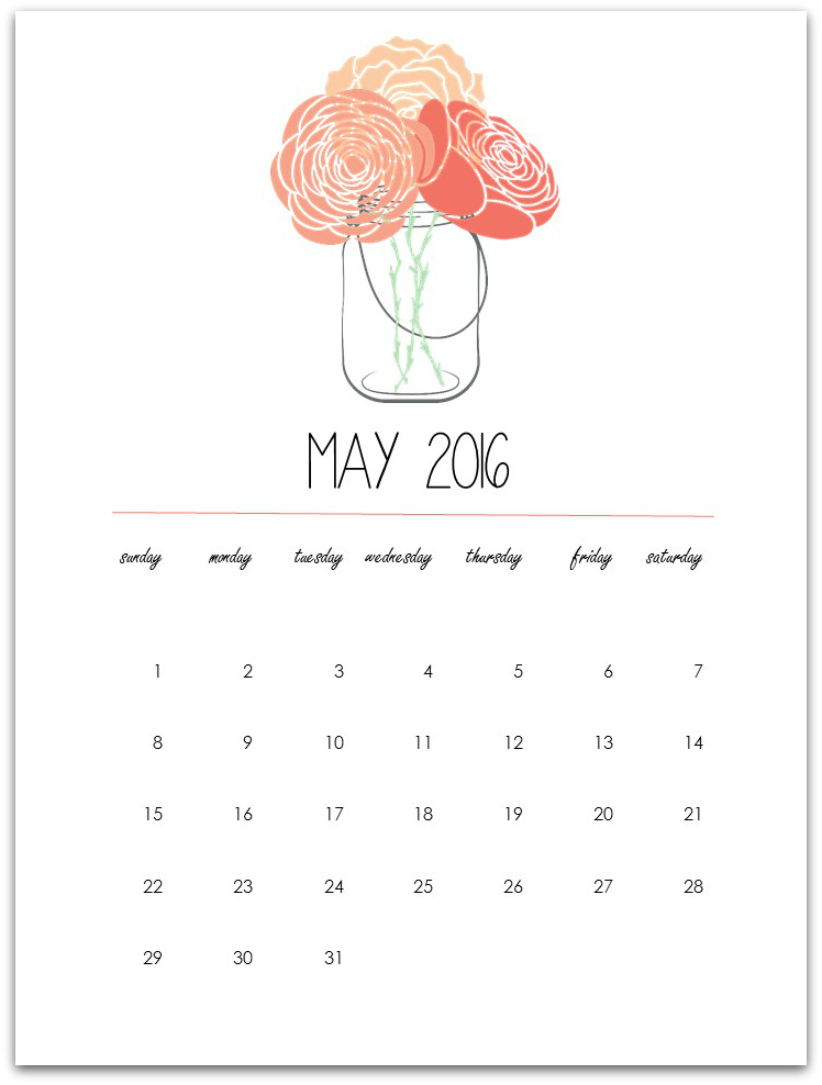 image about Mason Jar Printable referred to as Might Calendar Website page Printable - Mason Jar Crafts Enjoy