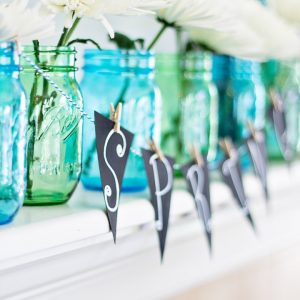 Blue and Green Mason Jars