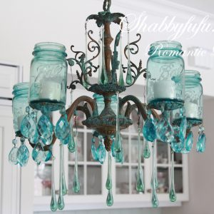 Mason Jar Chandelier with Vintage Blue Mason Jars