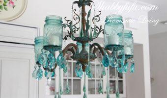 Mason Jar Crafts with Vintage Blue Mason Jars - Mason Jar Light Fixture