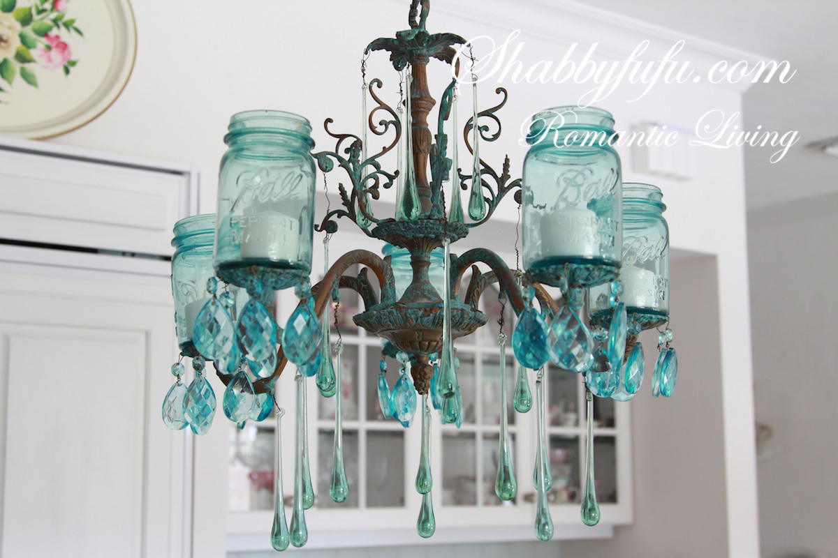 Projects mason jar crafts love mason jar chandelier with vintage blue mason jars arubaitofo Image collections
