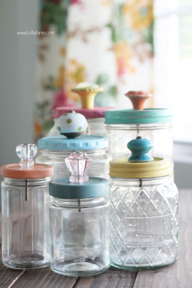 Mason Jar Storage Containers with Knobs