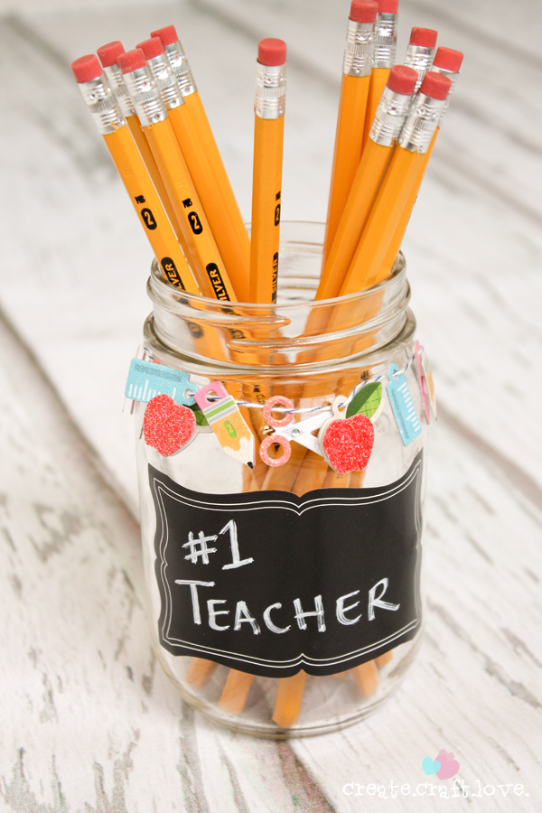 Mason Jar Crafts - Teacher Gift Pencil Holder