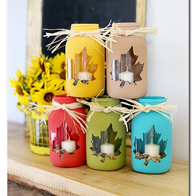 Maple leaf masonjars from sugarbeecrafts fallcrafts masonjarcrafts