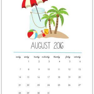Mason Jar Calendar Page Printable - Free Printable Calendar Page 2016