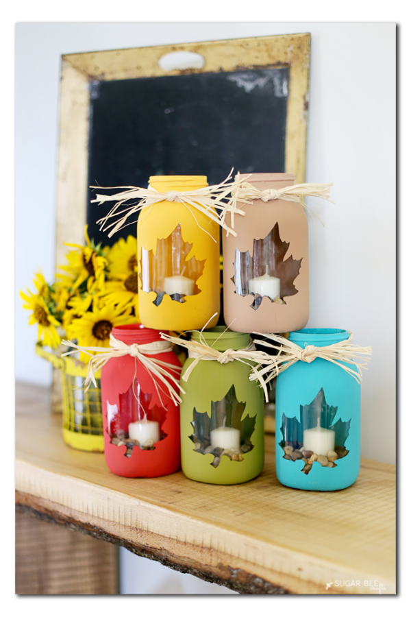 Mason Jar Crafts for Fall - Maple Leaf Mason Jar Craft