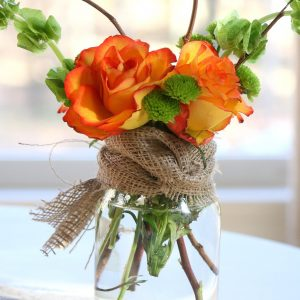 Fall Mason Jar Flower Arrangement