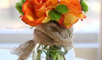 Fall Mason Jar Flower Arrangement