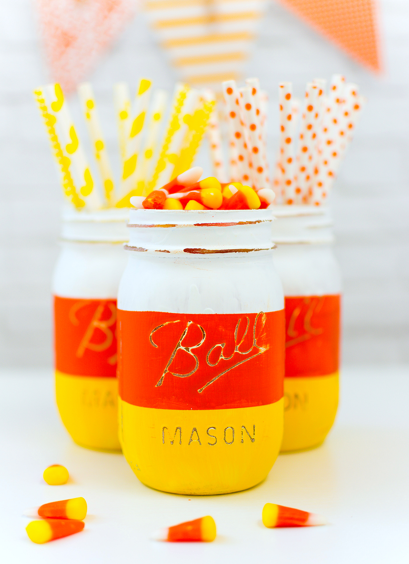 Candy Corn Mason Jars for Halloween