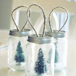 Mason Jar Bottle Brush Tree Ornaments - Mason Jar Christmas Craft Ideas