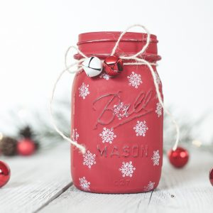 Painted Snowflake Mason Jar - Christmas Crafts with Mason Jars