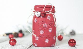 Painted Snowflake Mason Jar