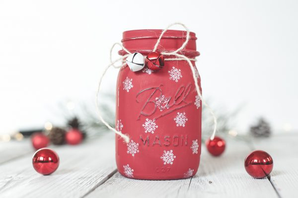 Painted Snowflake Mason Jar - Christmas Crafts with Mason Jars