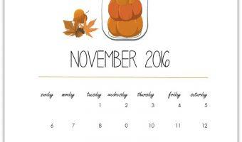 November Calendar Page – Free Download