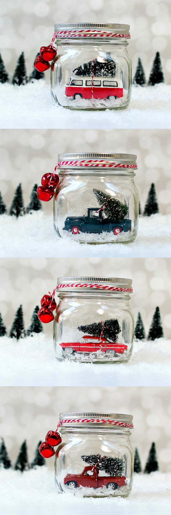 Mason Jar Snow Globes Car in Jars