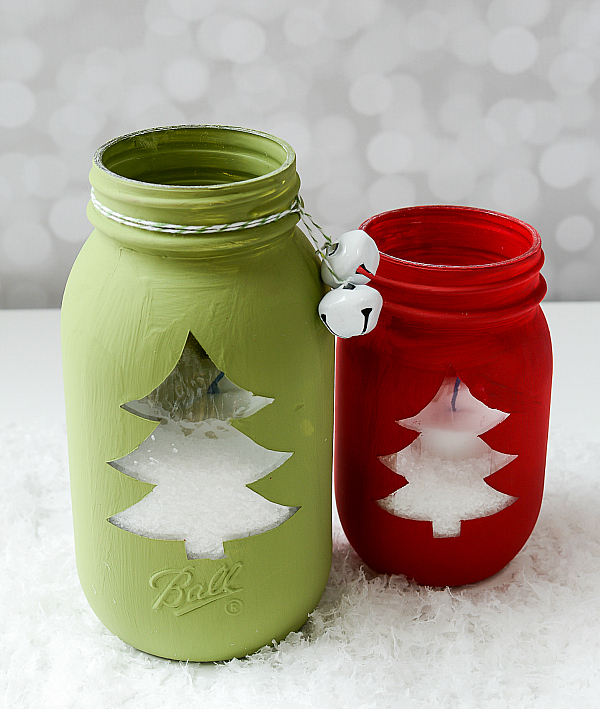 Nice Mason Jar Craft Ideas For Christmas Part - 5: Christmas Tree Mason Jar Votive