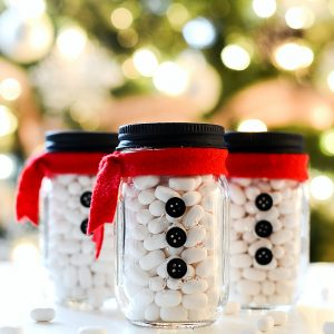 Snowman Mason Jar Stocking Stuffers in Mini Mason Jars