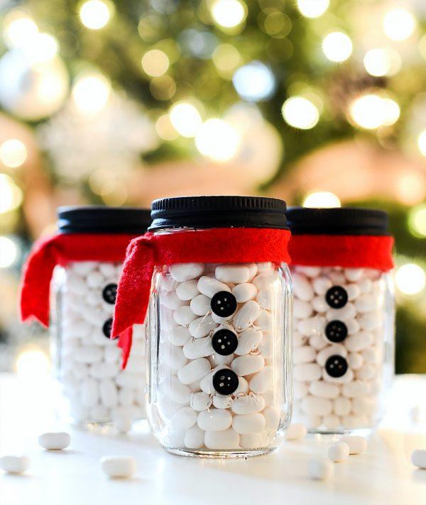Snowman Mason Jar Stocking Stuffers in Mini Mason Jars