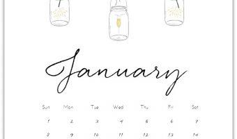 January 2017 Calendar Page