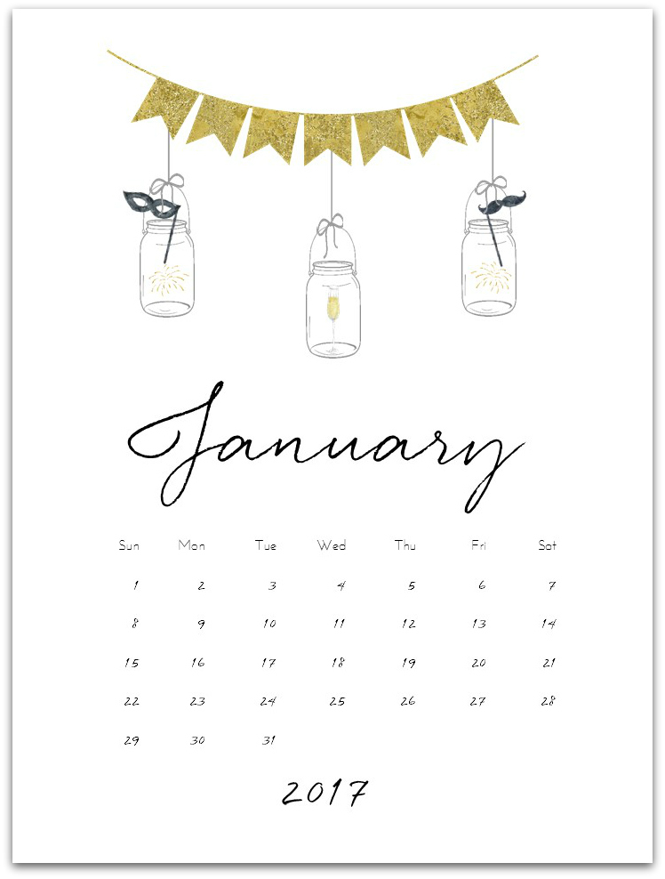 January  Calendar Page Printable  Mason Jar Crafts Love