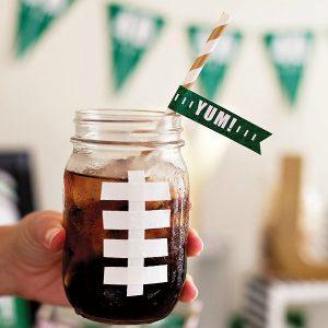 Football Mason Jar Mug