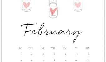 Calendar Page free Printable for February