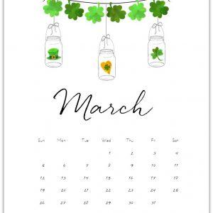 Free Calendar Page Printable Mason Jars